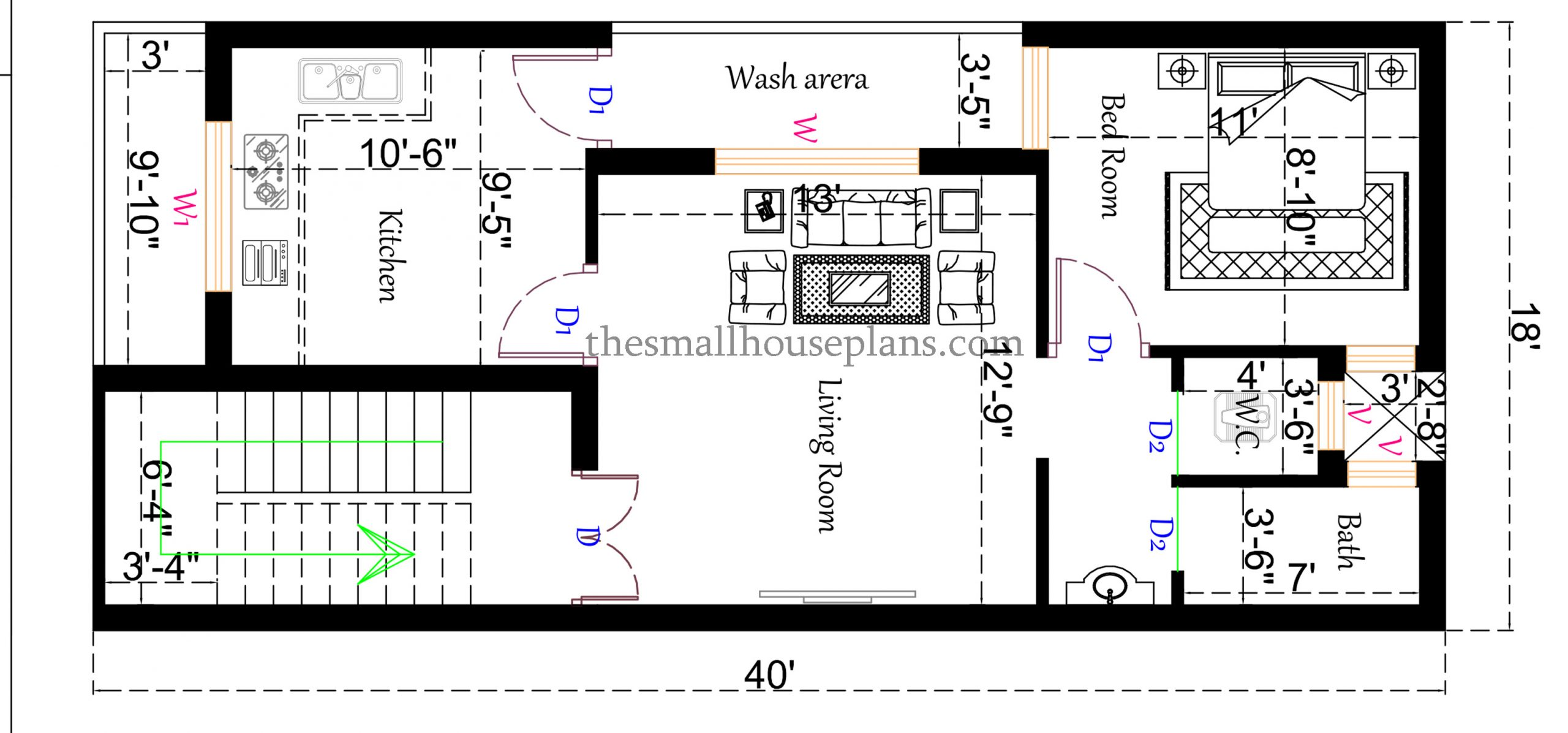 18x40 small house plan