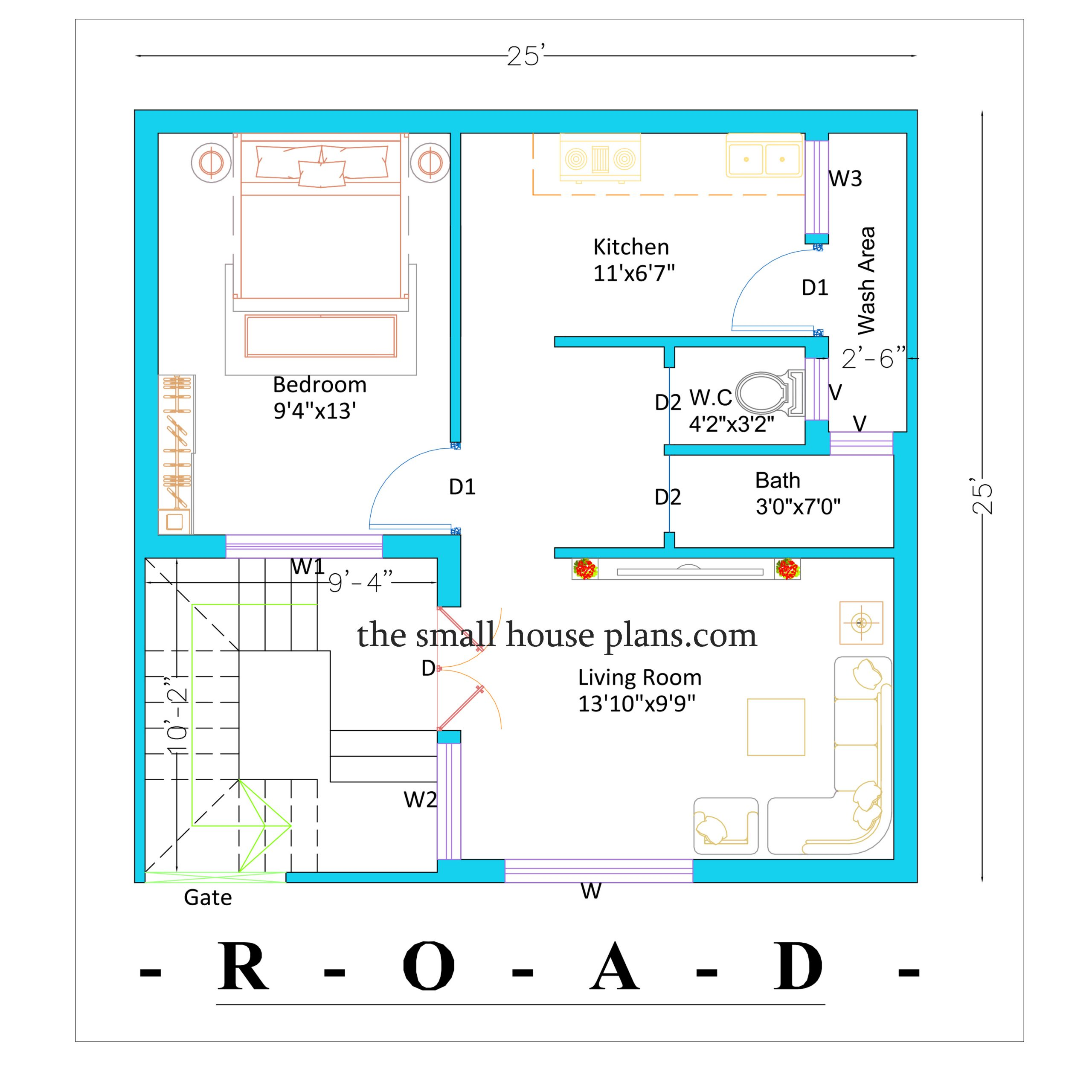25 by 25 house plan