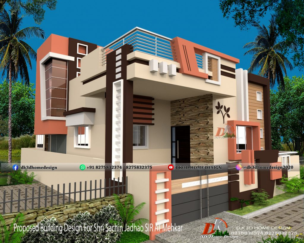 small house simple front wall design