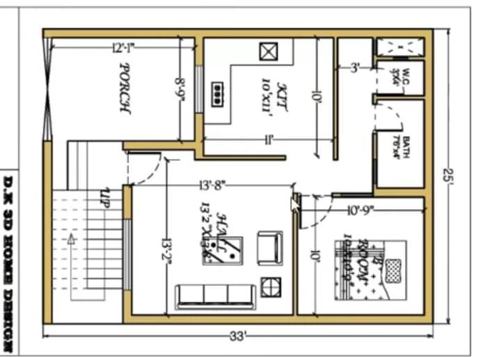 25x30 1bhk small house plan