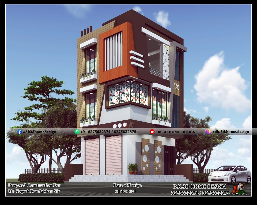 house design with shop