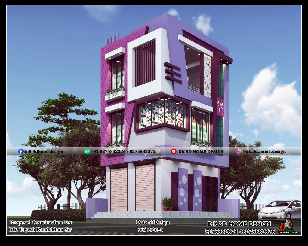 3 floor small house design with shop