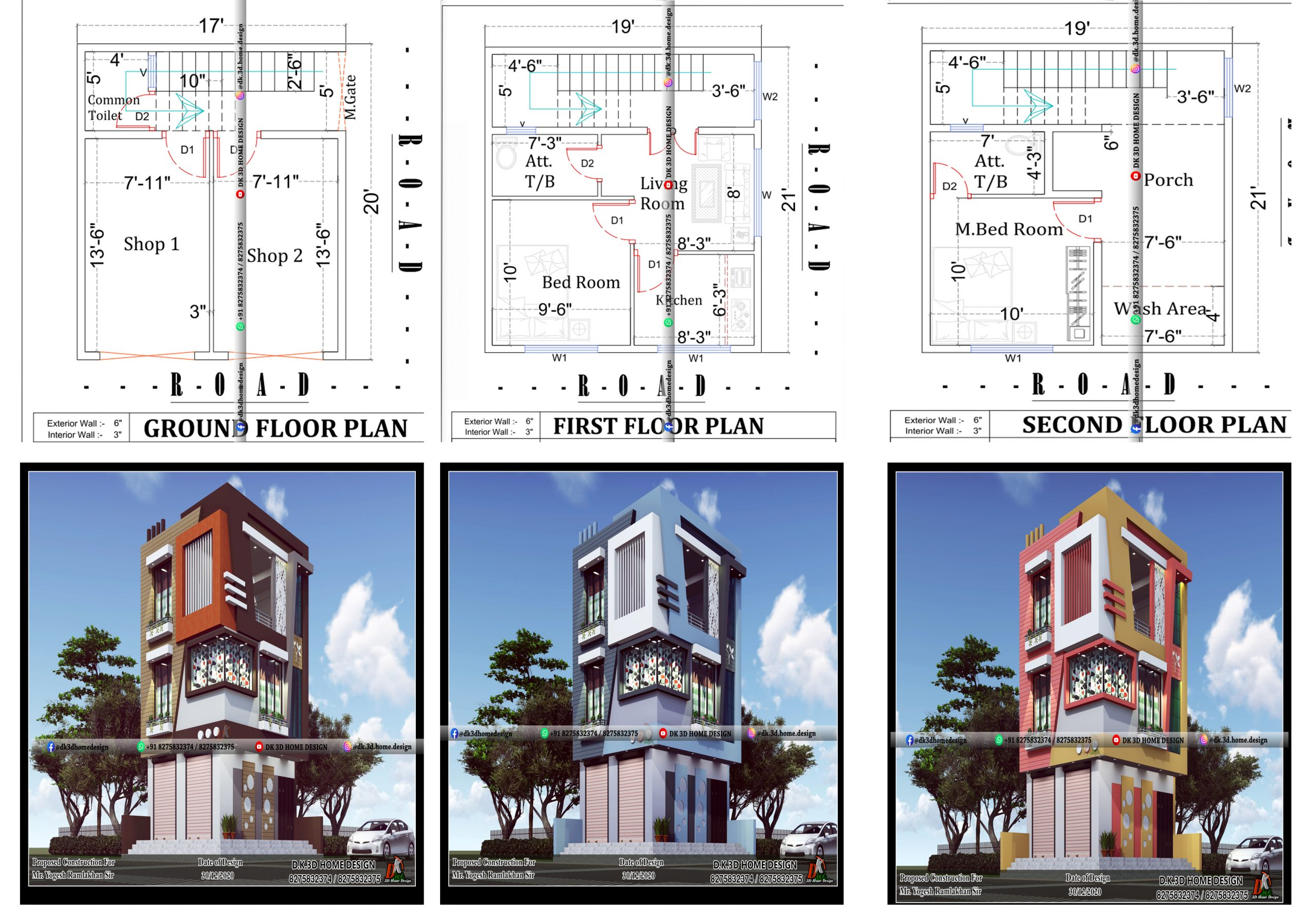 g+2 house plan and design with shop