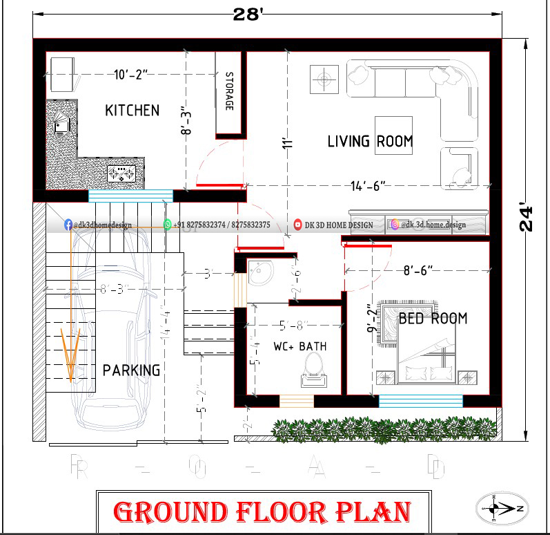 25x25 1bhk house plan with car parking in 625 sq ft plot