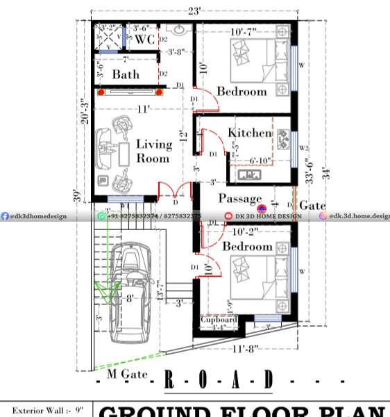 25*35 house plan with car parking