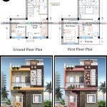 small duplex house plan with its front elevation design