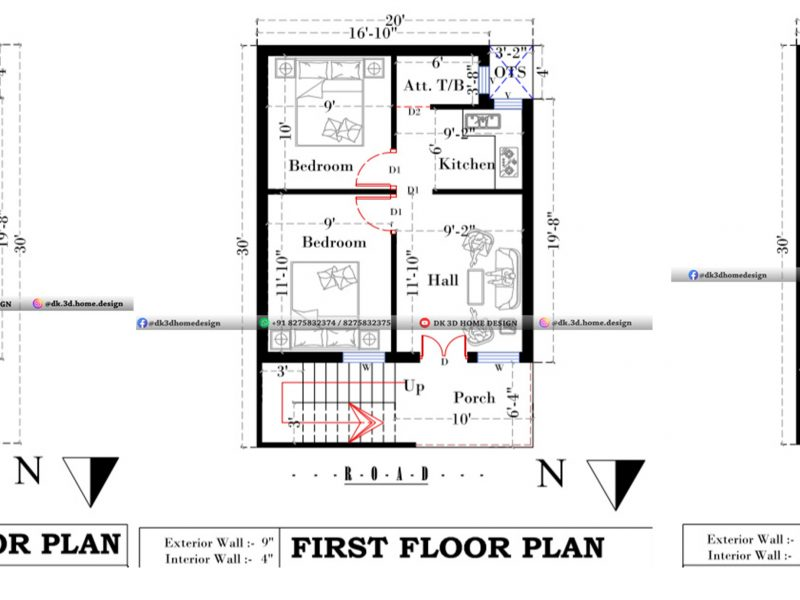 600 square feet house plan 3 floors