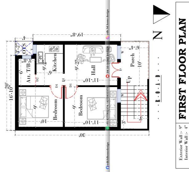20x30 house plan 3 floors